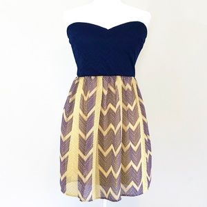 City Triangles Strapless Sweetheart Bow Back Dress